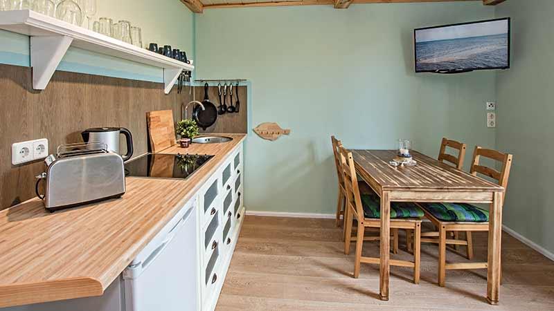 Ferienwohnung Achterwasser Küchenzeile Essbereich Hinter der Düne Ückeritz Usedom